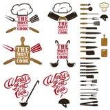 Sistema del mejor cocinero del mundo, el elem más creativo del cocinero y del diseño Imagen de archivo libre de regalías