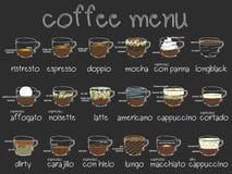 Sistema del menú del café en creyón verde del tablero y del color Fotos de archivo