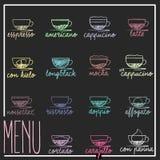 Sistema del menú del café Imagen de archivo libre de regalías