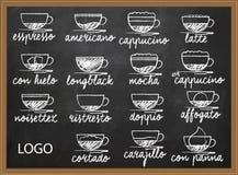 Sistema del menú del café de la mano del menú del café dibujada Imágenes de archivo libres de regalías