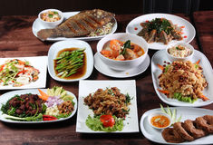 Sistema del menú tailandés de la comida Foto de archivo libre de regalías