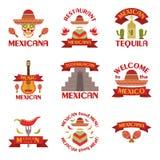 Sistema del mexicano de emblemas, de etiquetas, de insignias y de logotipos del vector en el fondo blanco Fotos de archivo