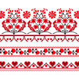 Sistema del modelo étnico del ornamento con la flor cruzada de la puntada Imágenes de archivo libres de regalías