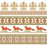 Sistema del modelo étnico del ornamento del día de fiesta en diversos colores Foto de archivo libre de regalías