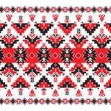 Sistema del modelo étnico del ornamento en colores rojos y negros Imagen de archivo libre de regalías