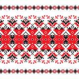 Sistema del modelo étnico del ornamento en colores rojos y negros Imagenes de archivo