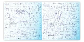 Sistema del modelo del vector con el texto escrito de la mano real en el papel de la rejilla del cuaderno Foto de archivo libre de regalías