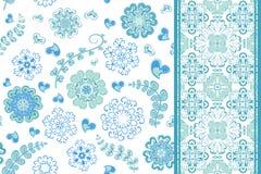 Sistema del modelo inconsútil con las flores con los copos de nieve y la frontera, modelo sin fin floral de la fantasía Ilustraci Imagen de archivo libre de regalías