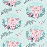 Sistema del modelo inconsútil de los caracteres de la historieta linda del cerdo Símbolo chino de los 2019 años Feliz Año Nuevo G ilustración del vector