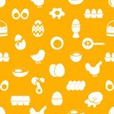 Sistema del modelo inconsútil de los iconos del tema del huevo Foto de archivo libre de regalías