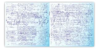 Sistema del modelo inconsútil del vector con el texto escrito de la mano real en el papel de la rejilla del cuaderno Fotos de archivo