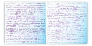 Sistema del modelo inconsútil del vector con el texto escrito de la mano real en el papel de la rejilla del cuaderno Fotos de archivo libres de regalías