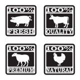 Sistema de etiquetas de la carnicería Imagen de archivo libre de regalías