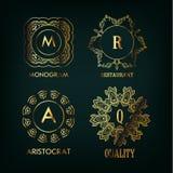 Sistema del monograma del lujo, simple y elegante Fotos de archivo