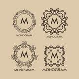 Sistema del monograma del lujo, simple y elegante Imágenes de archivo libres de regalías