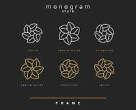 Sistema del monograma elegante Diseño del emblema Fotografía de archivo libre de regalías