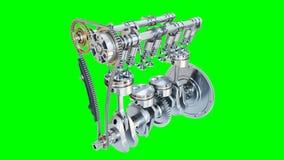 Sistema del motore a combustione interna isolato su backgroun bianco archivi video