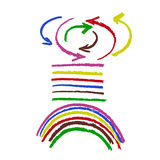 Sistema del movimiento del cepillo de flechas y de líneas coloreadas más el arco iris Fotografía de archivo