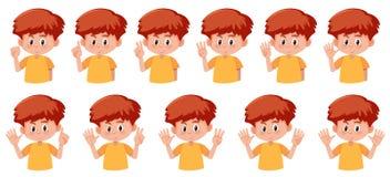Sistema del muchacho con gesto del número de la mano libre illustration