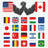Sistema del mundo redondo de las banderas Foto de archivo libre de regalías