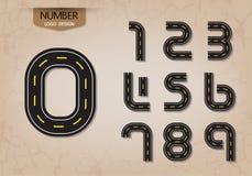 Sistema del número abstracto del vector de la naturaleza del camino del estilo del logotipo Imágenes de archivo libres de regalías