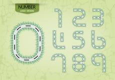 Sistema del número abstracto del vector de la naturaleza de la hierba del estilo del camino del logotipo Imagenes de archivo