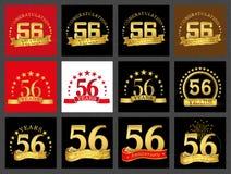 Sistema del número cincuenta y seis 56 años de diseño de la celebración Elementos de oro de la plantilla del número del aniversar ilustración del vector