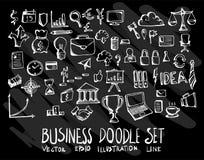 Sistema del negocio de colección del dibujo del garabato del vector en backgr negro Imagen de archivo