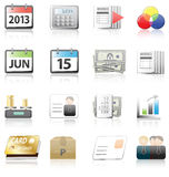 Negocio, finanzas e iconos del contable fijados Foto de archivo libre de regalías