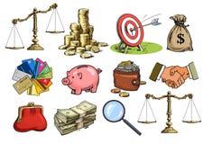 Sistema del negocio de la historieta Escalas, pila de monedas, saco de dólares, tarjetas de crédito, apretón de manos, monedero,  libre illustration