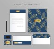 Sistema del negocio de la identidad corporativa Diseño moderno de la plantilla de los efectos de escritorio Documentación para el Foto de archivo