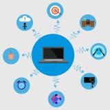Sistema del negocio del día laborable del Freelancer en elementos styles planos Foto de archivo