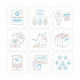 Sistema del negocio del vector o iconos y conceptos de las finanzas en la mono línea estilo fina Fotografía de archivo