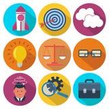 Sistema 9 del negocio, iconos redondos coloridos de comercialización Imagen de archivo