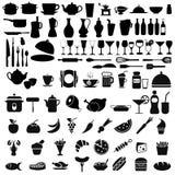 Sistema del negro de iconos kitching Fotografía de archivo