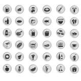 Sistema del negro de la cocina y del icono sano de la comida Fotos de archivo libres de regalías