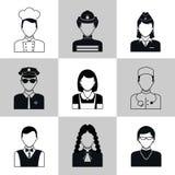 Sistema del negro de los iconos de Avatar libre illustration