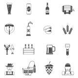Sistema del negro de los iconos de la cerveza Fotografía de archivo libre de regalías