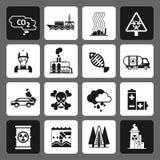 Sistema del negro de los iconos de la contaminación Imágenes de archivo libres de regalías