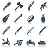 Sistema del negro de los iconos del arma Foto de archivo libre de regalías