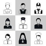 Sistema del negro de los iconos del avatar de las profesiones stock de ilustración