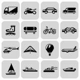 Sistema del negro de los iconos del transporte Imagenes de archivo