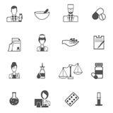 Sistema del negro del icono del farmacéutico Fotografía de archivo libre de regalías