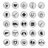 Sistema del negro del icono médico y sano de la clínica Imágenes de archivo libres de regalías