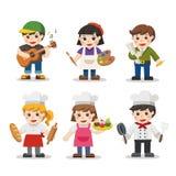 Sistema del niño de diversas profesiones ilustración del vector