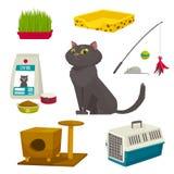 Sistema del objeto del gato, artículos y materia, ejemplo de la historieta del vector Foto de archivo libre de regalías