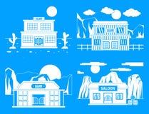 Sistema del oeste salvaje del concepto de la bandera del salón, estilo simple stock de ilustración