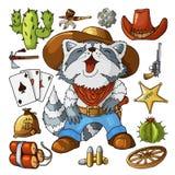 Sistema del oeste salvaje occidental de las etiquetas engomadas del arte Arma, balas, cactus y muchos otros artículos libre illustration