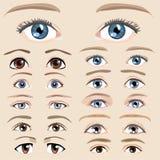 Sistema del ojo de la historieta Fotos de archivo libres de regalías