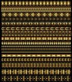 Sistema del ornamento de las fronteras del oro Imágenes de archivo libres de regalías